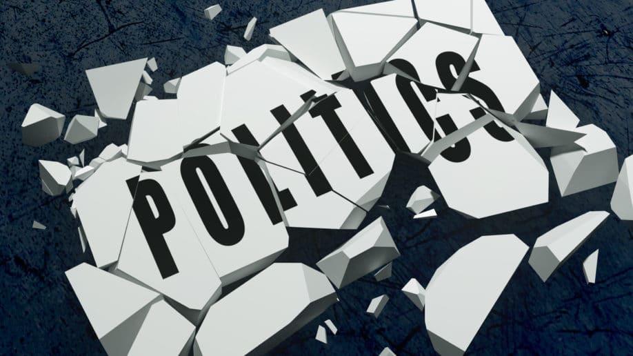 politics shatter brick white black